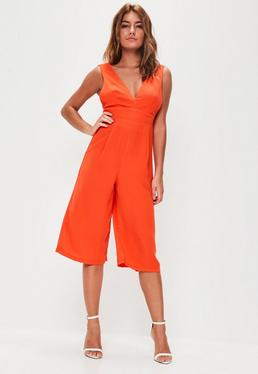 Orange Plunge Front Culotte Jumpsuit