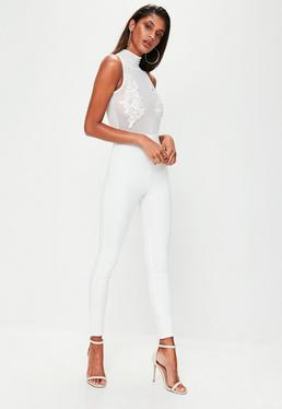 White Mesh Unitard Jumpsuit