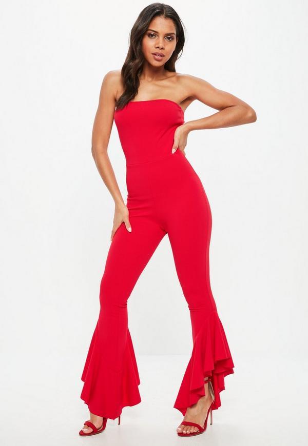 Red Bandeau Frill Leg Jumpsuit