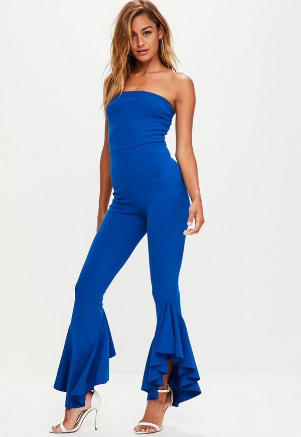 Blue Bandeau Frill Leg Jumpsuit