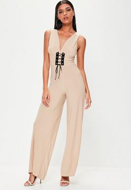 Combinaison nude jambes larges taille corset