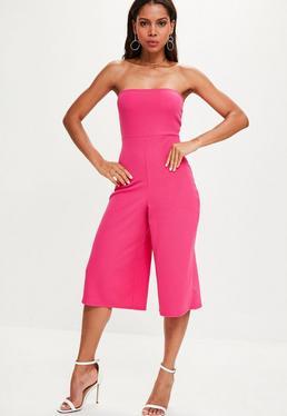 Pink Bandeau Culotte Jumpsuit