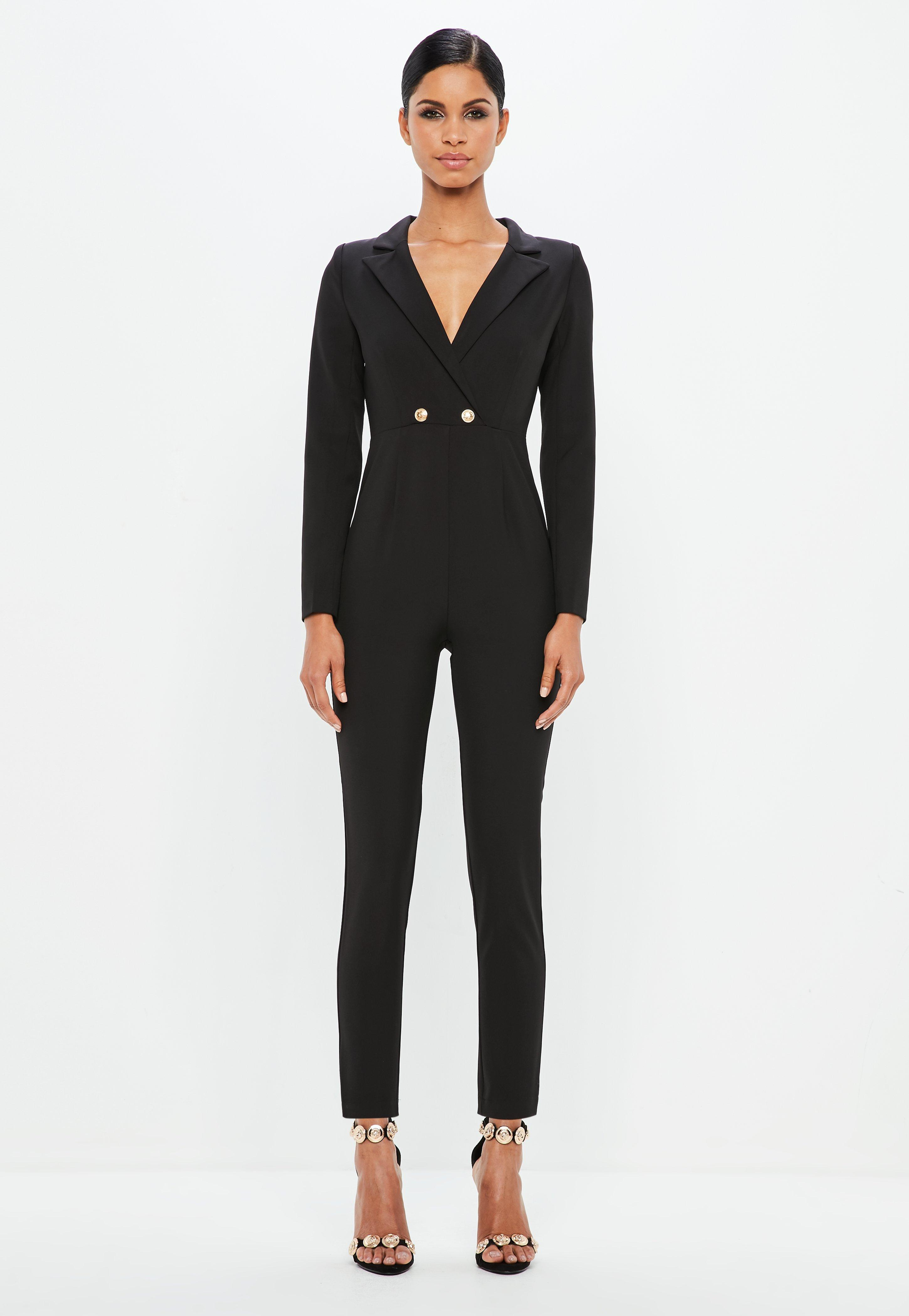 Explore For Sale Eastbay Sale Online Missguided Long Sleeve Double Button Jumpsuit Wl1OGVo