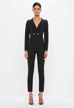 Peace + Love Long Sleeve Double Button Jumpsuit