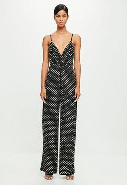 Peace + Love Black Strappy HotFix Flared Jumpsuit