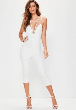 White Harness Plunge Jumpsuit