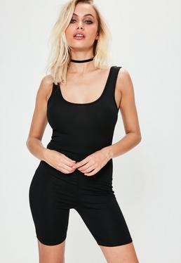 Jersey Crop-Jumpsuit in Schwarz