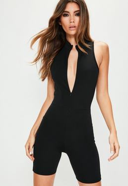 Crop-Jumpsuit in Schwarz