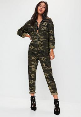 Green Camo Print Jumpsuit