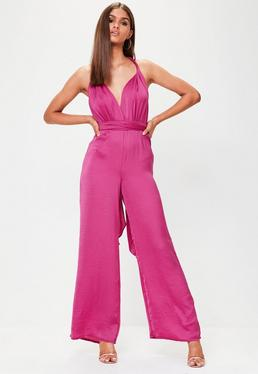 Purple Satin MultiWay Wide Leg Jumpsuit