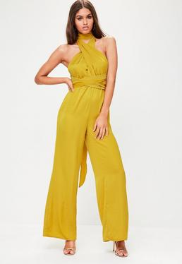 Yellow Satin MultiWay Wide Leg Jumpsuit