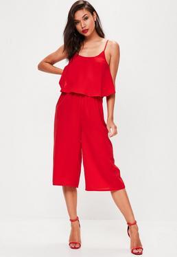Red Plain Double Layer Culotte Jumpsuit