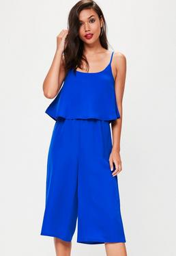 Blue Plain Double Layer Culotte Jumpsuit