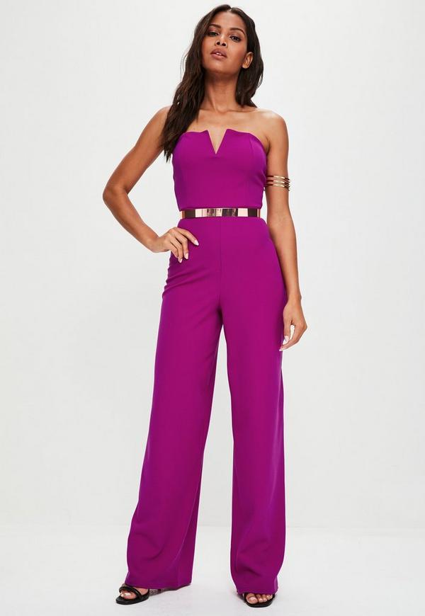 Purple V Bar Bandeau Wide Leg Jumpsuit