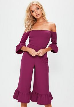Purple Frill Cuff Bardot Jumpsuit