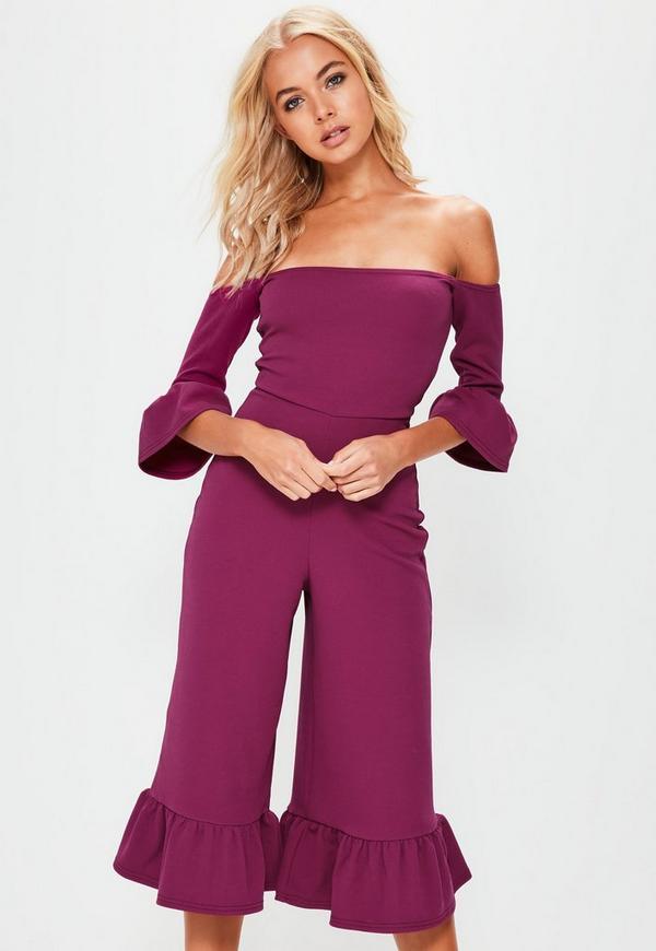 Purple Frill Cuff Bardot Jumpsuit