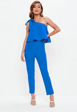 Blue One Shoulder Bow Jumpsuit