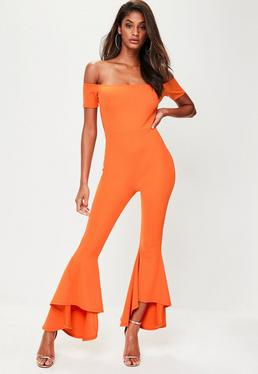 Orange Bardot Frill Jumpsuit