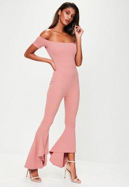 Pink Bardot Frill Jumpsuit
