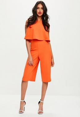 Orange Double Layer Culottes Jumpsuit