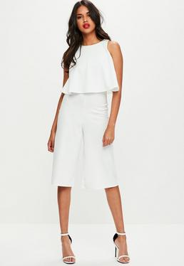 White Double Layer Culottes Jumpsuit