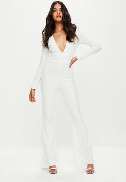 White Plunge Front Flare Jumpsuit
