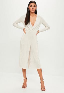 Beige Wrap Crinkle Culotte Jumpsuit