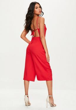Red Backless Culottes Jumpsuit