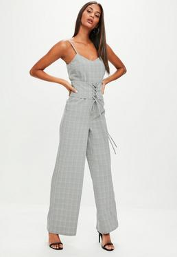 Grey Check Jumpsuit