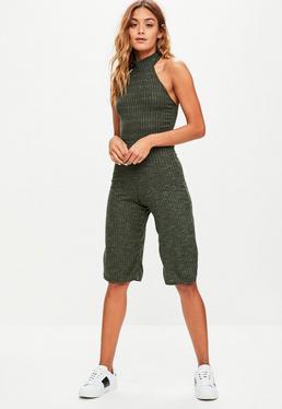 Khaki High Neck Ribbed Culotte Jumpsuit