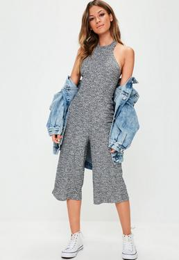 Grey Highneck Ribbed Culotte Jumpsuit