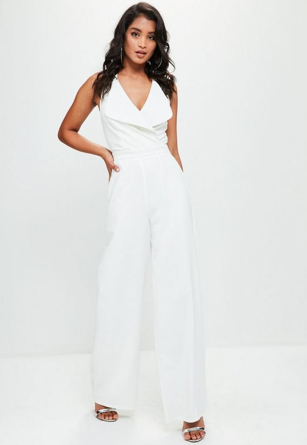 white tailored large lapel jumpsuit missguided. Black Bedroom Furniture Sets. Home Design Ideas