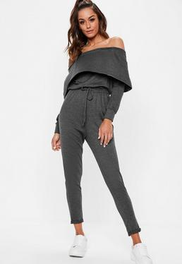 Grey Bardot Overlay Casual Long Sleeve Jumpsuit