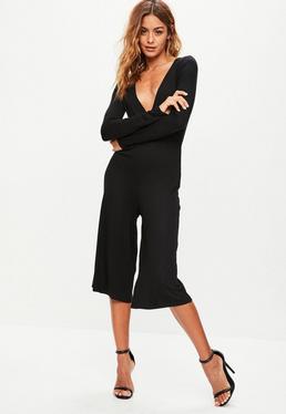 Black Jersey Wrap Culotte Jumpsuit