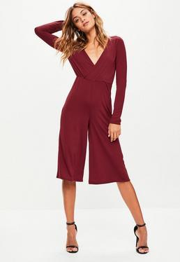 Burgundy Jersey Wrap Culotte Jumpsuit