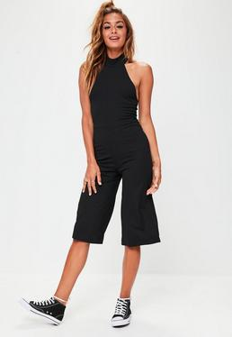 Black High Neck Ribbed Culotte Jumpsuit