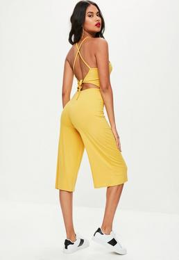 Yellow Jersey Tie Back Cut Out Culotte Jumpsuit