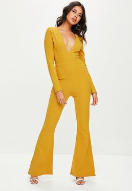 Yellow Plunge Front Flare Jumpsuit