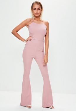 Pink Racer Neck Frill Hem Jumpsuit