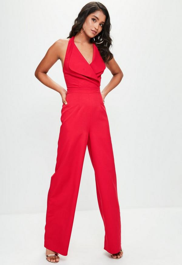 red tailored large lapel jumpsuit missguided. Black Bedroom Furniture Sets. Home Design Ideas