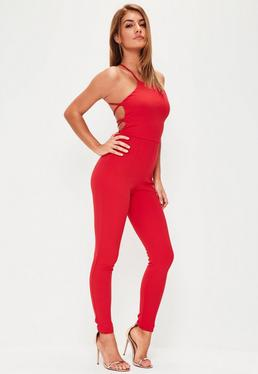 Red Crepe Strappy Back Unitard Jumpsuit
