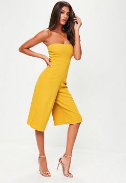 Yellow Bandeau Culotte Jumpsuit