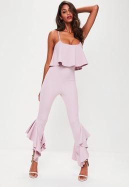 Purple Frilled Leg Layer Jumpsuit