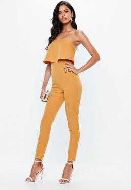 Orange Crepe Double Layer Jumpsuit