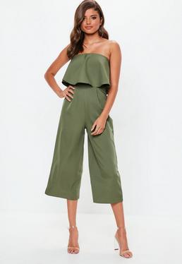 Khaki Crepe Double Layer Culotte Jumpsuit