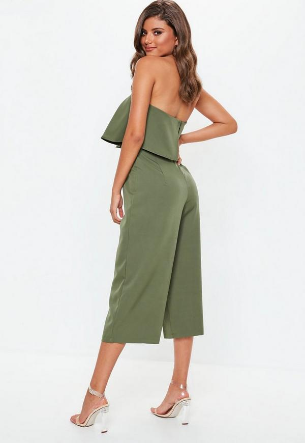 a45980a4298 Khaki Crepe Double Layer Culotte Jumpsuit. Previous Next