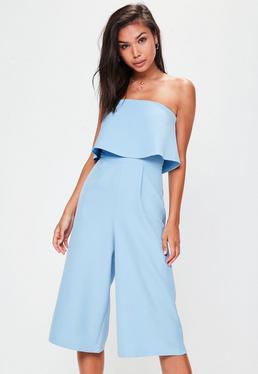 Blue Crepe Double Layer Culotte Jumpsuit