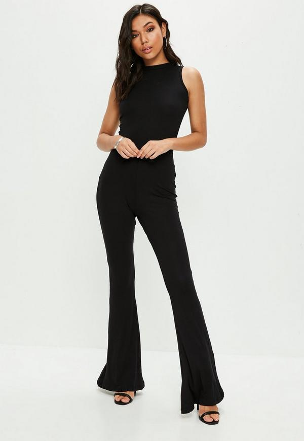 Black Roll Neck Flared Leg Sleeveless Jumpsuit Missguided