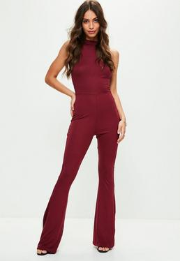 Burgundy Roll Neck Flared Leg Jumpsuit