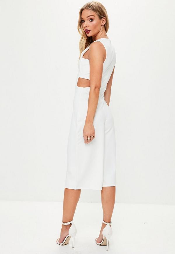 white tab side culotte jumpsuit missguided. Black Bedroom Furniture Sets. Home Design Ideas